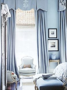 Inspiration for a traditional calm blue bedroom. Pale blue walls and ottoman at the foot of the bed. Statement full length French blue curtains at the windows with a shaped box pleat valance soft pelmet. Blue Rooms, Beautiful Bedrooms, Home, Interior, Blue Bedroom, Remodel Bedroom, Home Decor, Tiffany Blue Bedroom, French Blue Bedroom