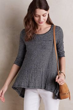 Swing Stripe Tee #anthropologie -- the great movement of this top makes it go from basic to noticeable. love.