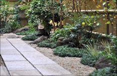 玄関前より奥へ続くスペースを御影石によるアプローチとし、和風の庭小道となっております。 作りたてのお庭に見えない、ある程度の年月の経過を感じられる雰囲気を出しております。 Chicken Runs, Japanese House, Green Flowers, Sidewalk, Landscape, Garden, Plants, Modern Japanese Garden, Shrub