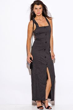 Black-Pinstripe-Retro-Buttoned-Fitted-Maxi-Dress from Bonita Moda Boutique