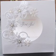 white on white poinsettia border circle die cut card - bjl Wedding Anniversary Cards, Wedding Cards, Acetate Cards, Poinsettia Cards, Die Cut Cards, Winter Cards, Creative Cards, Christmas Inspiration, Flower Cards