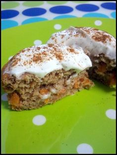 Carrot Cake Protein Muffins with cream cheese frosting...only 68 calories for the muffin!!