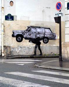 Voici aujourd'hui les dernières créations du street artist françaisCharles Leval, akaLevalet, dont les collages débordants de créativité recouvrent le