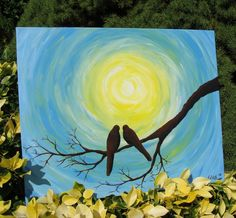 Love Birds in the Sun - Original Acrylic Painting. $120.00, via Etsy.