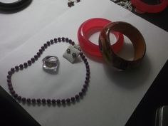 Mixed Jewelry Lot 5 Pieces Jewelry - 2 Bangles ,Ring 8, Necklace & Earrings | eBay