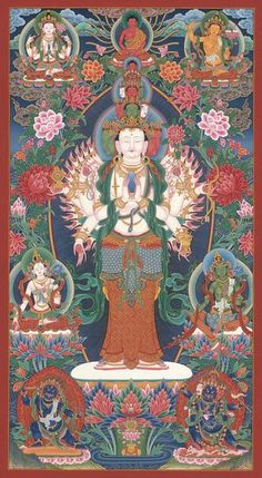 1000-Armed Avalokitesvara thangka, or paubha, painting is by Nepal's foremost artist, Mukti Singh Thapa. Original and Collector's Edition prints are available.