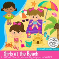 Girls at the Beach Clipart  Clip Art and by pixelpaperprints