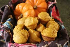 Pumpkin muffins made with Greek yogurt.