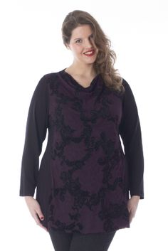 exelle | curvy fashion | comfortable shirt with waterfall collar