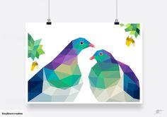 Kereru painting Geometric bird New Zealand bird by tinykiwiPrints Geometric Bird, Simple Artwork, School Murals, New Zealand Art, Bird Illustration, Illustrations, Kiwiana, Bird Crafts, Diy Embroidery