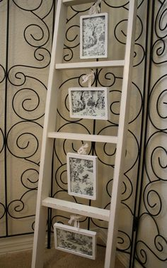 Dishfunctional Designs: Old Ladders Repurposed As Home Decor ... of course i love all of these! :)  Ladders are so much fun to decorate with! :)