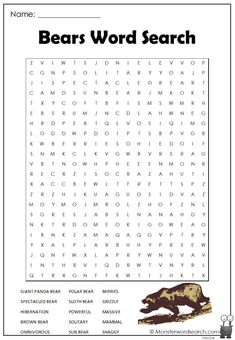 awesome Bears Word Search