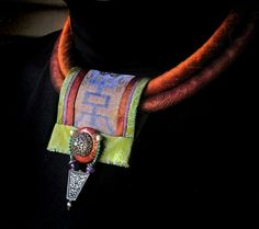 Silk fiber Necklace Rust Copper Silk Loop and by gretchenschields, $225.00