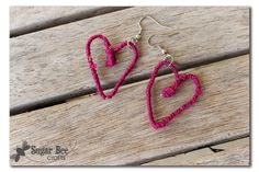 Sugar Bee Crafts: sewing, recipes, crafts, photo tips, and more!: Yarn Wrapped Wire Heart Earrings - Tutorial!