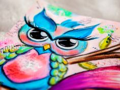 Mixed Media Painting / Artjournal Page – Girl with Owl - by Andrea Gomoll