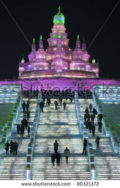 Harbin, China- Ice & Snow Festival at night - The Great Stairs