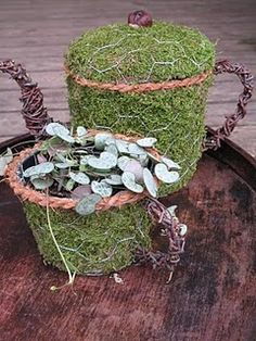 teapot and teacup topiary with added moss. Great for succulents and shady plants Garden Crafts, Garden Projects, Garden Art, Garden Table, Chicken Wire Crafts, Moss Garden, Flower Pots, Flowers, Diy Flower