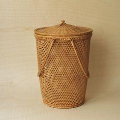Mid Century Modern Wicker Lidded Basket