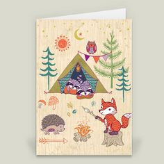 Woodland Animals Camping on Wood Folded Card by Janetbroxon on BoomBoomPrints