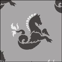 Seahorse Repeat stencil section.