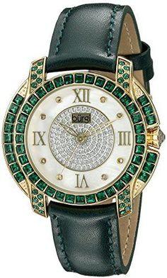 cbecfa6efb0 Burgi Women s BUR156GN Yellow Gold Quartz Watch With Diamond Mother of Pearl  Swarovski Crystal Accented Dial