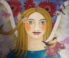 Angel Butterfly and Birds Encaustic  Painting by Debidoodah