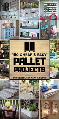 150 Cheap & Easy Pallet Projects 150 Cheap & Easy Pallet Projects,Pallet furniture Transform free pallets into creative and beautiful furniture, decorations, planters and more! There are over 150 easy pallet ideas here to give your home and garden. Wooden Pallet Projects, Diy Pallet Furniture, Diy Projects With Pallets, Diy With Pallets, Palet Projects, Pallet Wood, Fun Diy Projects For Home, Recycled Pallets, Furniture Design