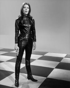 Diana Rigg - A shot from the 60s spy show 'The Avengers' - Amazing biker cat suit