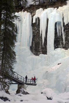 Alberta, Canada You can walk on water, the frozen kind, in Alberta Winter visitors to Johnston Canyon hike along steel walkways attached to the rock walls. Visit Canada, O Canada, Alberta Canada, Canada Travel, Quebec, Nature Pictures, Travel Pictures, Calgary, Vancouver