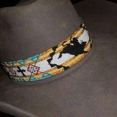 Bead Loom Designs, Bead Loom Patterns, Western Hats, Cowboy Hats, Beaded Headbands, Bead Jewelry, Unique Jewelry, Plastic Canvas Patterns, Loom Beading
