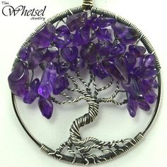 Amethyst Tree Of Life Necklace - Sterling Silver Wire Wrapped Pendant - February Birthstone Necklace - Handmade Jewelry By Tim Whetsel &Middot; Wire Wrapped Jewelry By Tdw &Middot; Online Store Powered By Storenvy - Diy Crafts - maallure Wire Wrapped Pendant, Wire Wrapped Jewelry, Wire Jewelry, Silver Jewelry, Jewellery, Tree Of Life Jewelry, Tree Of Life Necklace, Wire Tree Necklace, February Birthstone Necklace
