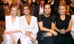 Armani's ladies! Naomi Watts, Sophia Loren, Roberta Armani and Kate Winslet are all smiles in the front row. <p>Photo by Bertrand Rindoff Petroff/Getty Images