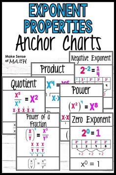 Check out these exponent properties anchor charts that work great as posters in your 8th grade, Algebra, and middle school math classrooms.  These cover the product rule, quotient rule, negative exponents, zero exponents and power rule.  Both color and black and white copies are included.  Click here to check out this product. #makesenseofmath Seventh Grade Math, 8th Grade Math, Simplifying Expressions, Algebra Games, Math Games, Fun Math Activities, Math Lesson Plans, Math Strategies, Math Classroom