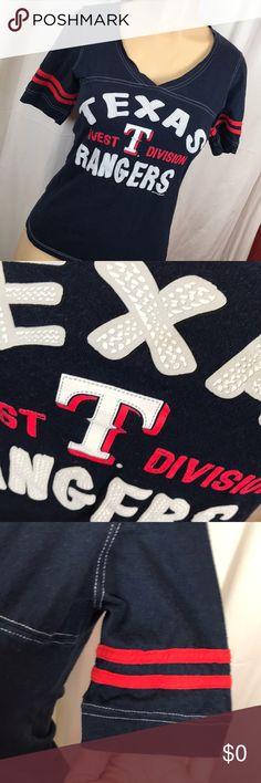 MLB 5th & Ocean Texas Rangers top Adorable genuine merchandise v neck top for the Texas Rangers   Very flattering   A2 5th & Ocean Tops