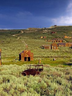 Afternoon light under stormy skies in Bodie State Historic Park, California.
