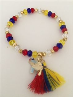 Bandera de Venezuela con cristales Summer Jewelry, Ankle Bracelets, Tulip, Tassel Necklace, Beads, Handmade, Bangle Bracelets, Necklaces, Bracelet Designs
