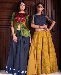 New Chaniya Choli & Blouse Designs for Navratri 2019 - LooksGud.in Mustard And Navy Blue Designer Chaniya Choli New Chaniya Choli & Blouse Designs for Navratri 2019 - LooksGud.in Mustard And Navy Blue Designer Chaniya Choli Choli Designs, Lehenga Designs, Choli Blouse Design, Sari Blouse Designs, Garba Chaniya Choli, Garba Dress, Navratri Dress, Choli Dress, Indian Lehenga