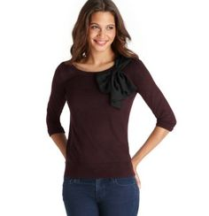 Bow Neck 3/4 Sleeve Sweater