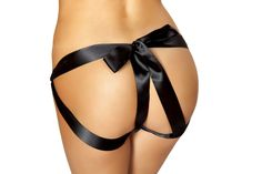 Sexy Roma Black Ribbon Bow Panty Lingerie Regular and Plus Sizes