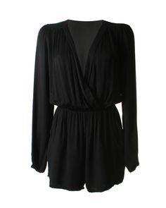 LOVE Black Long Sleeve Wrap Playsuit