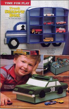 Pair of Plastic Canvas Matchbox Car by allsfairyvintage on Etsy