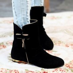 Flat Heel Bowknot Mid Calf Boots #shoes, #jewelry, #women, #men, #hats, #watches