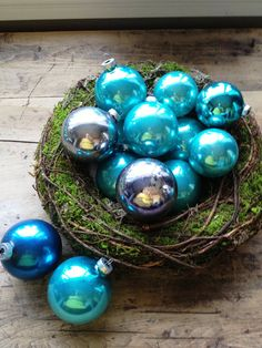 Vintage Aqua Glass Ball Ornaments  Set of 14 by katyagray on Etsy, $20.00