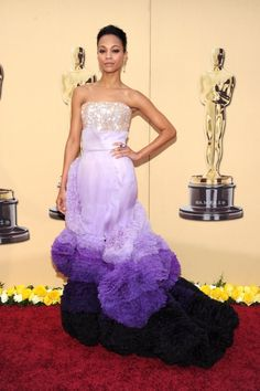"""Oscars 2010: Zoe Saldana In Givenchy Haute Couture - """"It takes someone like Zoe to pull off a dress like this, because it's clearly an art piece. She's astatuesque beauty, and I love that she took a chance."""""""