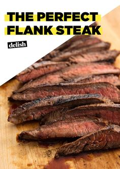 flank steak tacos A quick and easy marinade makes this Flank Steak from unforgettable. All you need is 30 extra minutes to make that steak extra-delish. Steak Marinade Recipes, Skirt Steak Recipes, Grilling Recipes, Cooking Recipes, Beef Recipes, Steak Marinades, Recipies, Cooking Courses, Crockpot Flank Steak Recipes