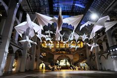 Dazzling Display of Giant Origami Birds Suspended from the Ceiling - My Modern Met