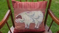 Stunning Handmade Applique Feather Cushion with Pig Detail £48.00