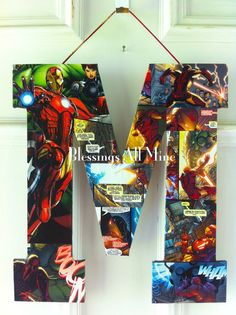 super hero boys's room | inch Customizable Super Hero Initial, Iron Man Door Decor, Boys Room ...
