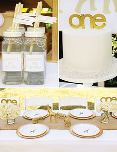 Stylish Golden Safari First Birthday Party // Hostess with the Mostess®
