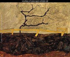 Bare Tree Behind A Fence - Egon Schiele - www.egon-schiele.net